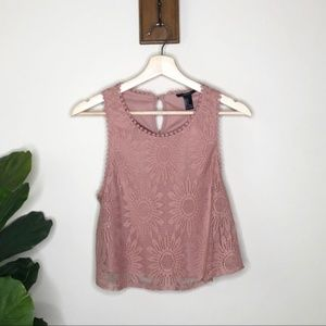 Forever 21 rose colored lace cropped top